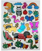 Jazzstick 210 Glitter Bird, Bug, Worm, Dog, Snake & Animal Decorative Sticker 10 sheets