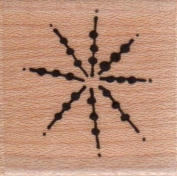 Dotted Burst Snowflake Wood Mounted Rubber Stamp