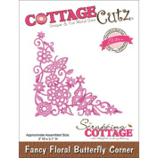 CottageCutz Elites Die 7.6cm x 7.9cm -Fancy Floral Butterfly Corner