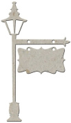 Fabscraps Die-Cut Chipboard Embellishment, Lamp with Hanging Sign, 16cm by 8.1cm
