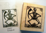 Grim reaper skeleton rubber stamp