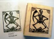 Grim reaper skeleton rubber stamp
