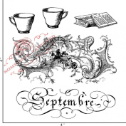 Something Tattered September Septembre French Month Clear Stamps, 10cm by 10cm