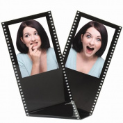 Black Acrylic Film Strip Standing Wallet Size Photo Frame, Holds Two 6.4cm x 8.9cm Photos