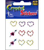 Crystal Stickers 9/Pkg-Hearts Multi