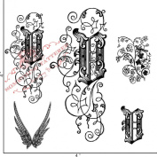 Something Tattered V Initial Monogram Clear Stamps, 10cm by 10cm