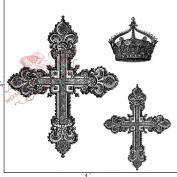 Something Tattered Cross and Crown Clear Stamps, 10cm by 10cm