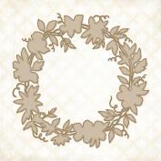 Floral Wreath Chipboard - Blue Fern