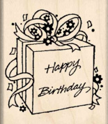 Happy birthday / gift Rubber Stamp - 2.5cm - 1.9cm x 5.1cm