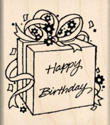 Happy birthday / gift Rubber Stamp - 2.5cm - 1.9cm x 5.1cm