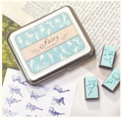 9 Kinds Korea DIY Woodiness Rubber Stamp- Tin Box Set -Fairy