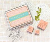 12 Kinds Korea DIY Woodiness Rubber Stamp- Tin Box Set - Lovely Animal