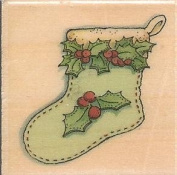 Holly Stocking Among Friends Collection Wood Mounted Rubber Stamp