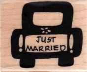 Just Married Car Wood Mounted Rubber Stamp