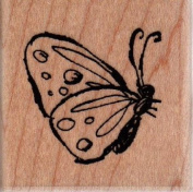 Side Butterfly Wood Mounted Rubber Stamp