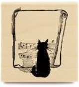 Jazzy Cat Wood Mounted Rubber Stamp