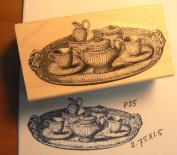 Vintage Tea set rubber stamp P35