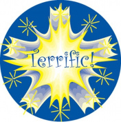 Ace Label 17289C 'Terrific!' Teacher School Stickers, 2.5cm , Blue/Yellow, 100 Per Roll