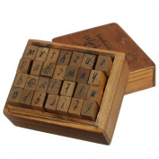 28Pcs Letter Rubber Stamp Wooden Box Alphabet Number Vintage Handwriting Craft