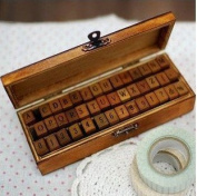 Wooden Rubber Stamp Box - Vintage Print Style - Capital Alphabet Stamp and Number Stamp - 42 Pcs Letter and Number Stamp Set