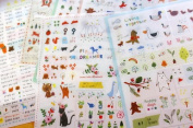 . 6 Sheets Korea Deco Translucent Sticker Set - Sticker Paper Colourful Paper Tape-Cute animal and plant