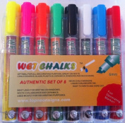 8 Chalk Markers Wet Liquid Neon Fluorescent Colour Erasable Pens Chalkboard Ink
