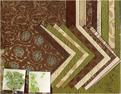 Shizen Handmade Decorative Paper Assortment- Brown/Cream/Green