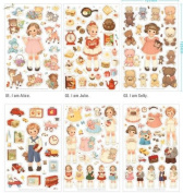 ONOR-Tech 6 Sheets Lovely Girls Decorative Adhesive Sticker Tape / Kids Craft Scrapbooking Sticker Set for Diary, Album
