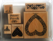 """Stampin' Up """"Hearts & Posies"""" Wood Mounted Rubber Stamp RETIRED 2002, Mounted, Set of 6"""