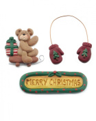 Scrapper Set - Set of 3 Merry Christmas with Mittens and Bear