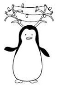 Antlers Penguin Wood Mounted Rubber Stamp