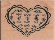 Floral Heart Wood Mounted Rubber Stamp