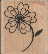 Petal Heart Flower Wood Mounted Rubber Stamp