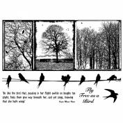 Crafty Individuals Unmounted Rubber Stamp 12cm x 18cm Pkg-Birds On A Wire