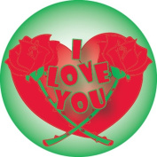 Ace Label 18289C 'I Love You' Teacher Heart School Stickers, 6.4cm , Red/Green, Roll of 100