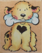 Puppy with Bone Wood Mounted Rubber Stamp - Rubber Stampede