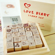 25 Kinds Korea DIY Woodiness Rubber Stamps -Love Dairy