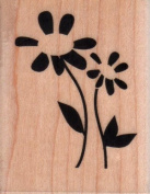 Daisy Flower Pair Wood Mounted Rubber Stamp
