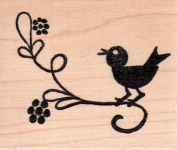 Floral Bird on Branch Wood Mounted Rubber Stamp