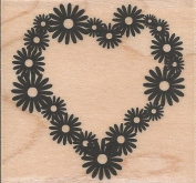 Heart Flower Wood Mounted Rubber Stamp