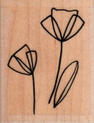 Outline Poppy Wood Mounted Rubber Stamp