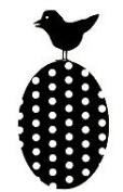 Polka Dot Egg With Bird Wood Mounted Rubber Stamp