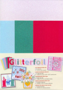 Die-cut Glitter foil A4 Glitter Foil Sheets for Scrapbooking, 2 White/3 Assorted Colours, 10cm by 23cm