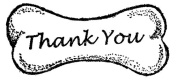 Dog Rubber Stamp - Thank You Bone Large-1002E (Size