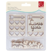 Cosmo Cricket COS68247 36-Piece Hearts Wood Charms Set, Natural