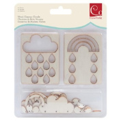 Cosmo Cricket COS68248 44-Piece Clouds Wood Charms Set, Natural