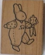 Rubber Stamp Daisy Kingdom Rabbit with Carrots 5.1cm X 6.4cm