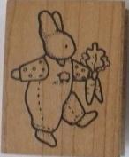 Rubber Stamp Daisy Kingdom Rabbit with Carrots 5.1cm X 6.4cm