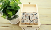 ONOR-Tech 12 Pcs Korean Lovely Wooden Rubber Stamp /DIY Diary Rubber Stamp Set