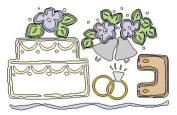 Lasting Impressions Brass Stencil - Wedding, Cake, Ring, Bells, Arch